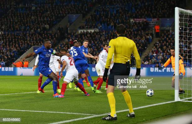 Wes Morgan of Leicester City scores a goal to make it 10 during the UEFA Champions League Round of 16 second leg match between Leicester City and...