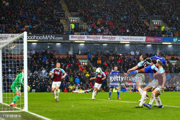 Wes Morgan of Leicester City scores a goal to make it 12 during the Premier League match between Burnley FC and Leicester City at Turf Moor on March...