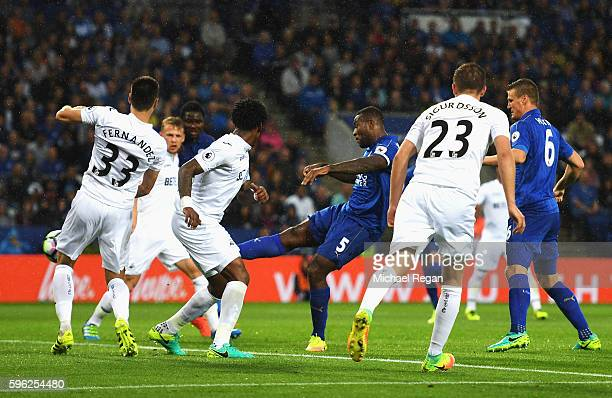 Wes Morgan of Leicester City scores his sides second goal during the Premier League match between Leicester City and Swansea City at The King Power...