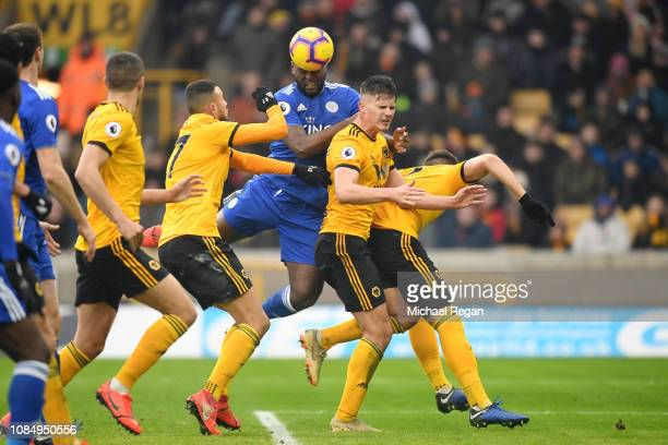 Wes Morgan of Leicester City scores his sides third goal during the Premier League match between Wolverhampton Wanderers and Leicester City at...