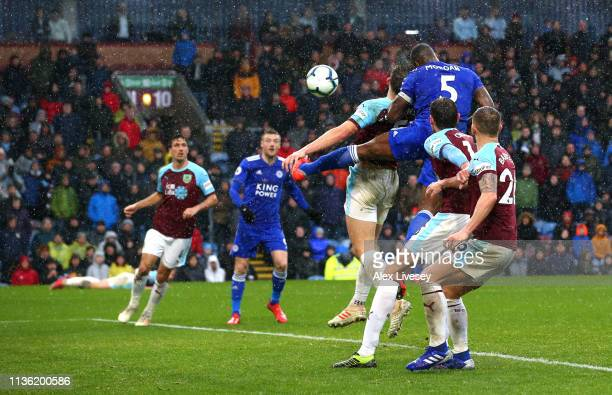 Wes Morgan of Leicester City scores his team's second goal during the Premier League match between Burnley FC and Leicester City at Turf Moor on...