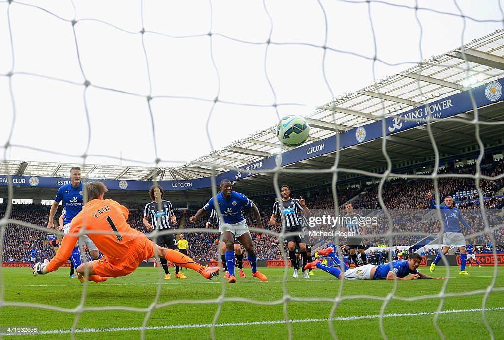 Wes Morgan of Leicester City scores his team's second goal during the Barclays Premier League match between Leicester City and Newcastle United at The King Power Stadium on May 2, 2015 in Leicester, England.