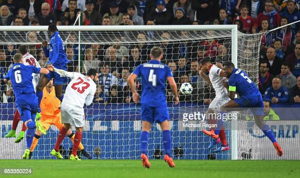 Wes Morgan of Leicester City scores the opening goal during the UEFA Champions League Round of 16 second leg match between Leicester City and Sevilla...