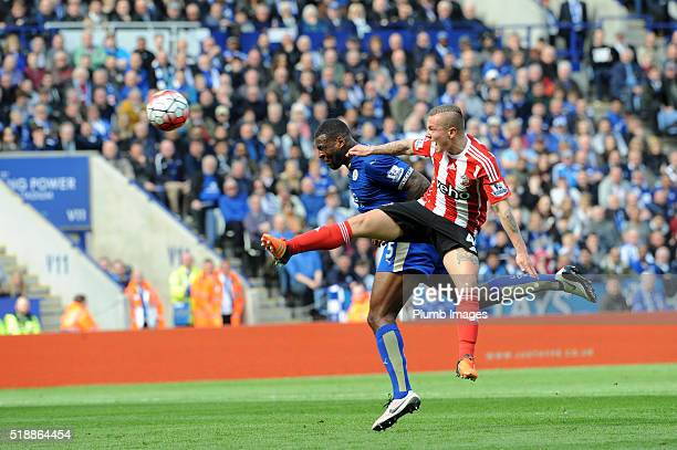 Wes Morgan of Leicester City scores with a header to make it 10 during the Barclays Premier League match between Leicester City and Southampton at...