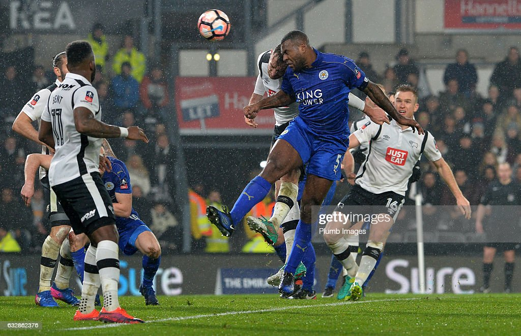 Wes Morgan of Leicester City scores with a header to make it 2-2 during the Emirates FA Cup Fourth Round tie between Derby County and Leicester City at iPro Stadium on January 27, 2017 in Derby, England.