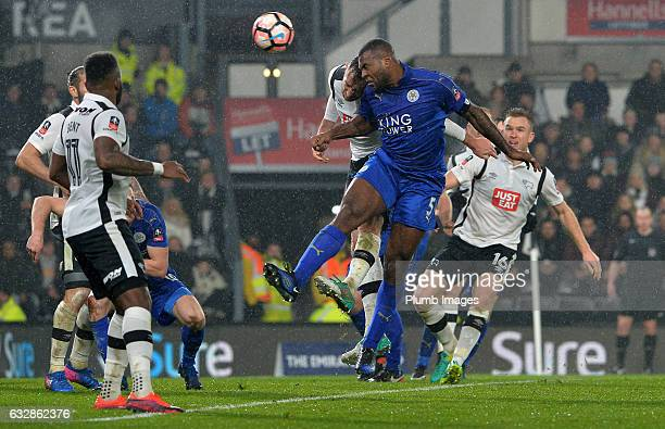 Wes Morgan of Leicester City scores with a header to make it 2-2 during the Emirates FA Cup Fourth Round tie between Derby County and Leicester City...