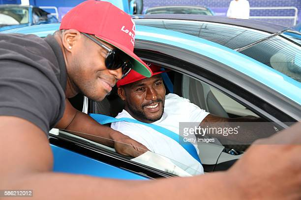 Wes Morgan sits in his protonic blue BMW I8s a gift from chairman Vichai Srivaddhanaprabha a fleet of 19 protonic blue BMW I8s were parked outside...