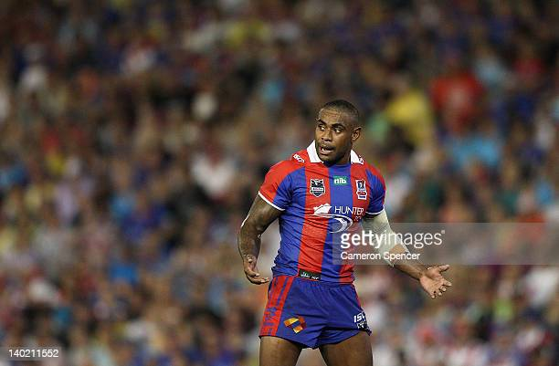 Wes Naiqama of the Knights talks to team mates during the round one NRL match between the Newcastle Knights and the St George Illawarra Dragons at...