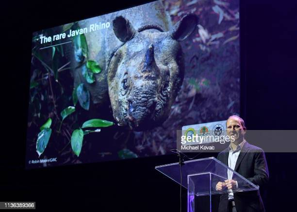 Wes Sechrest Chief Scientist and CEO Global Wildlife Conservation presents onstage at Global Wildlife Conservation's Wild Night For Wildlife annual...