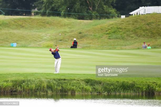 Wes Short Jr hits his approach shot on 18 during the first round of the 3M Championship on August 3 2018 at TPC Twin Cities in Blaine Minnesota
