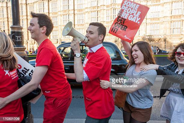 Wes Streeting, Head of Education at StonewallUK, leading the celebrations when the announcement of the vote on the wrecking amendment is made: 390...