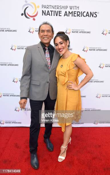Wes Studi and Q'orianka Kilcher attend Wes Studi Celebrates Honorary Oscar And 30 Years In Film At Reception Hosted By Partnership With Native...