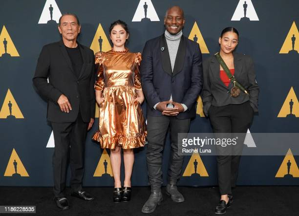 Wes Studi Rosa Salazar Tyrese Gibson and Amandla Stenberg attend the Academy Nicholl Fellowships Screenwriting Awards at AMPAS Samuel Goldwyn Theater...