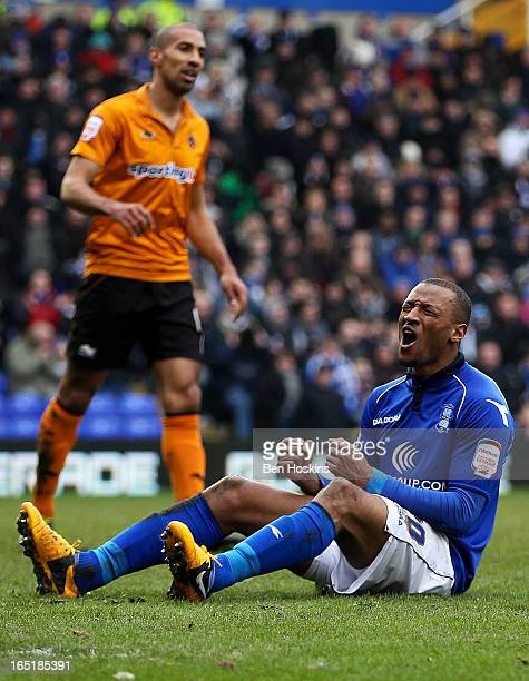 Wes Thomas of Birmingham reacts after missing a chance during the npower Championship match between Birmingham City and Wolverhampton Wanderers at St...