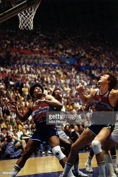 Wes Unseld of the Washington Bullets battles for rebound position against the Seattle Sonics during game one of the 1978 NBA Finals on May 211978 at...