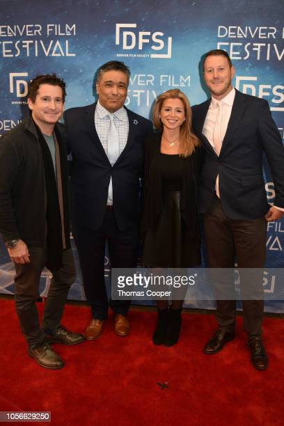 Wes Van Der Voort, Kiki Leyba and We are Columbine Director Laura Farber with Zach Martin on the red carpet for the 41st annual Denver Film Festival...