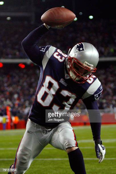 Wes Welker of the New England Patriots celebrates after scoring a touchdown in the fourth quarter against the San Diego Chargers during the AFC...