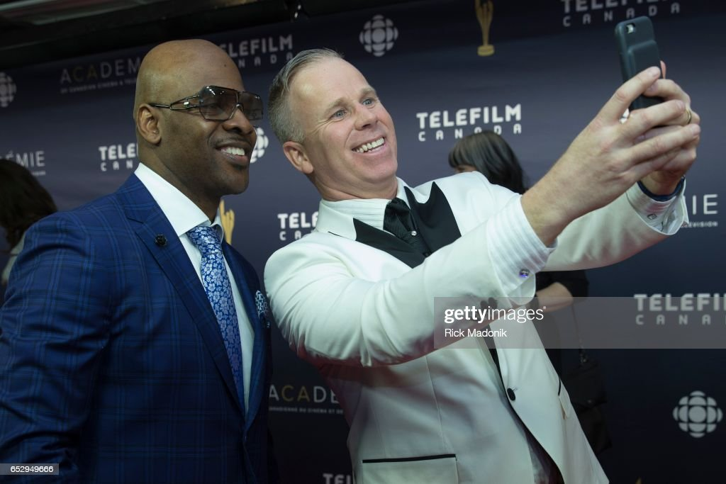 Wes Williams has a selfie taken with Gerry Dee. Canadian Screen Awards red carpet at Sony Centre for the Performing Arts ahead of the show.