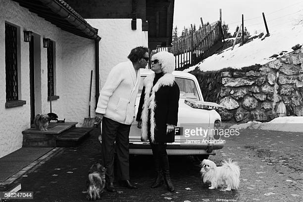 Wesh actor Richard Burton with wife BritishAmerican actress Elizabeth Taylor on winter sports holiday
