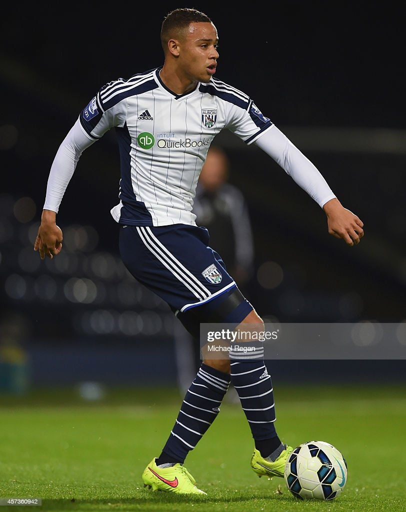 Wesley Atkinson of West Brom in action during the Barclays U21 Premier League match between West Bromwich Albion and Manchester United at The Hawthorns on October 16, 2014 in West Bromwich, England.