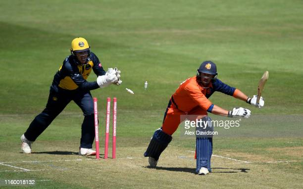 Wesley Barresi of Netherlands is stumped by Tom Cullen of Glamorgan during a T20 Friendly match between Glamorgan and Netherlands at Sophia Gardens...