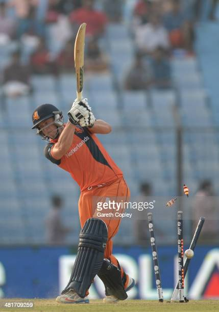 Wesley Barresi of the Netherlands is bowled by Chris Jordan of England during the ICC World Twenty20 Bangladesh 2014 Group 1 match between England...