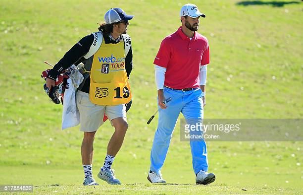 Wesley Bryan and his brother and caddie George Bryan IV walk the fairways during the final round of the Chitimacha Louisiana Open presented by NACHER...