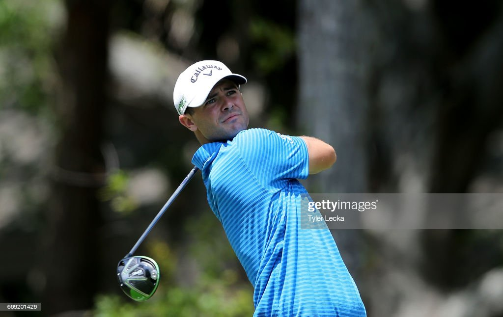 Wesley Bryan hits a tee shot on the 2nd hole during the final round of the 2017 RBC Heritage at Harbour Town Golf Links on April 16, 2017 in Hilton Head Island, South Carolina.