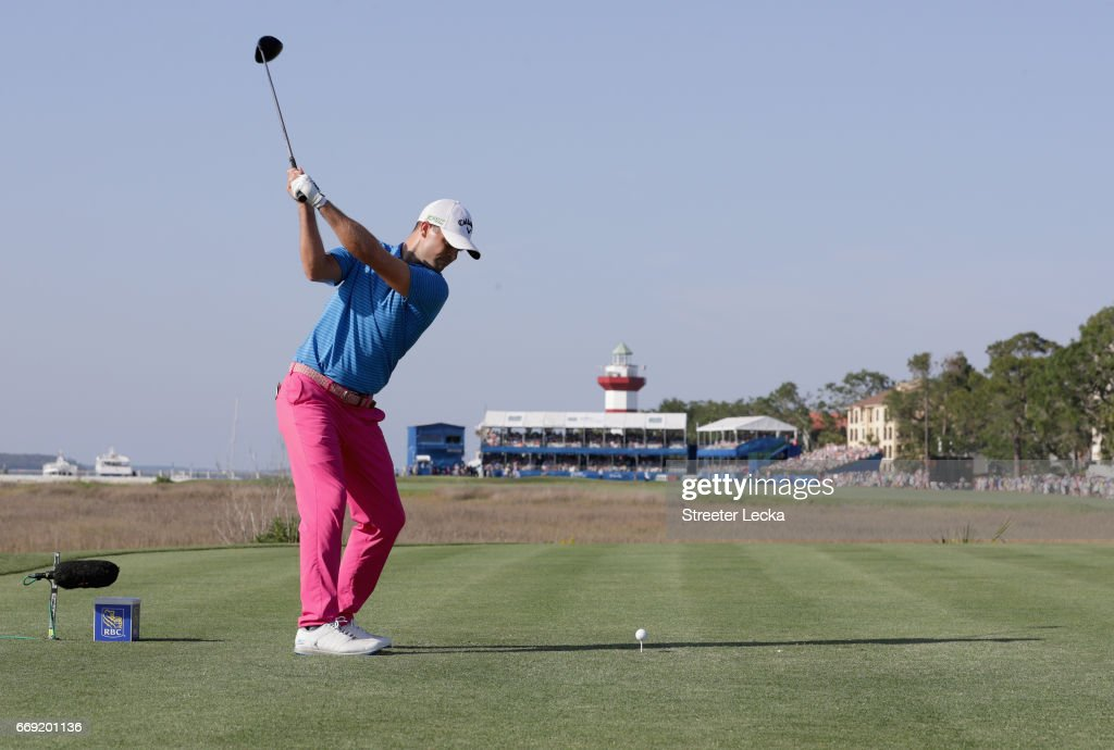 Wesley Bryan hits his tee shot on the 18th hole during the final round of the 2017 RBC Heritage at Harbour Town Golf Links on April 16, 2017 in Hilton Head Island, South Carolina.