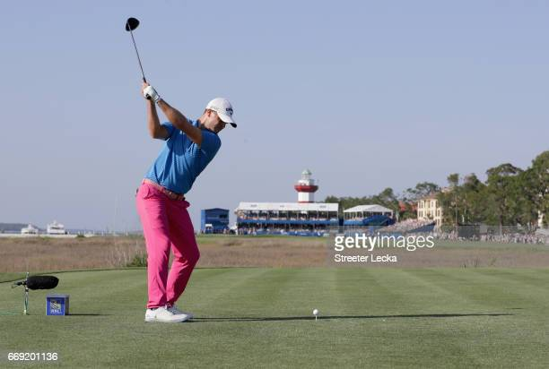 Wesley Bryan hits his tee shot on the 18th hole during the final round of the 2017 RBC Heritage at Harbour Town Golf Links on April 16 2017 in Hilton...