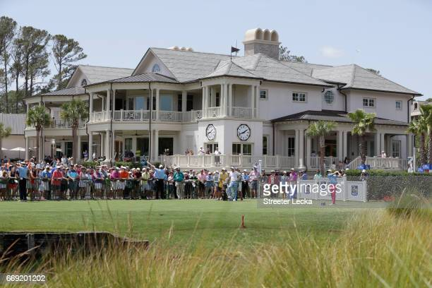 Wesley Bryan hits his tee shot on the first hole during the final round of the 2017 RBC Heritage at Harbour Town Golf Links on April 16 2017 in...