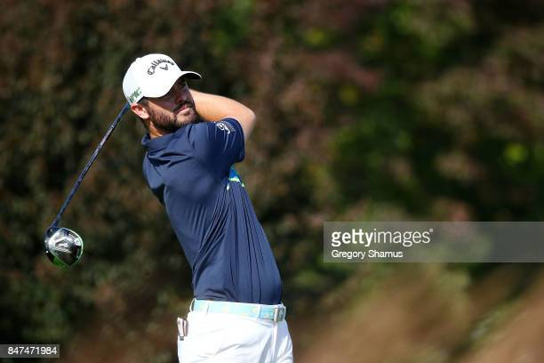 Wesley Bryan hits his tee shot on the fourth hole during the second round of the BMW Championship at Conway Farms Golf Club on September 15 2017 in...