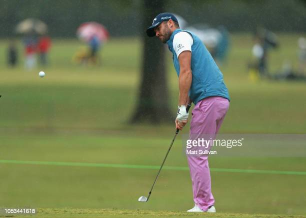 Wesley Bryan hits his third shot on the sixth hole during the first round of the Sanderson Farms Championship at the Country Club of Jackson on...