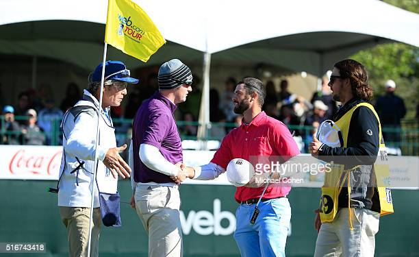 Wesley Bryan is contratulated by Ryan Brehm on the 18th green during the final round of the Chitimacha Louisiana Open presented by NACHER held at Le...