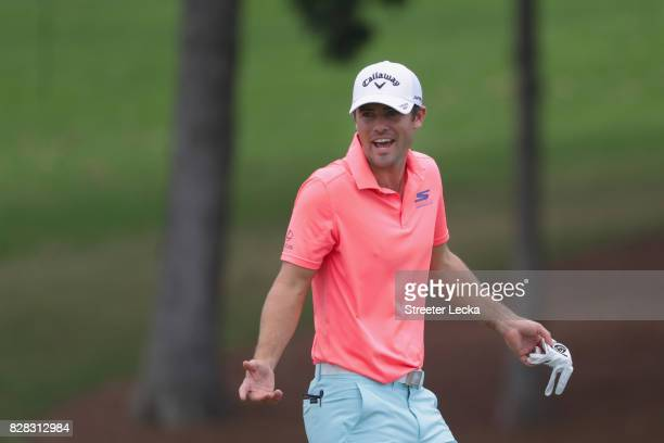 Wesley Bryan of the United States on the course during a practice round prior to the 2017 PGA Championship at Quail Hollow Club on August 9 2017 in...