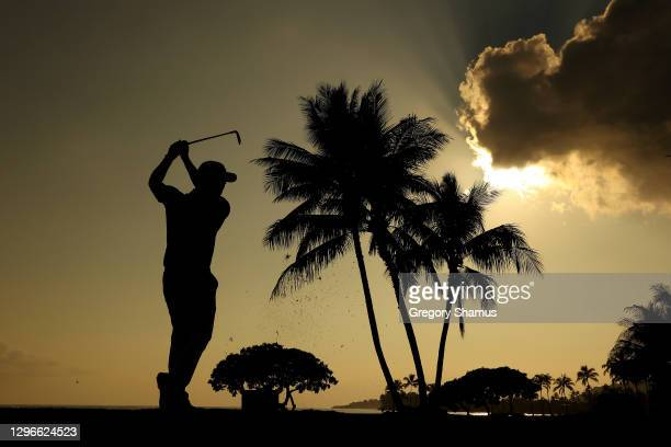 Wesley Bryan of the United States plays his shot from the 17th tee during the second round of the Sony Open in Hawaii at the Waialae Country Club on...