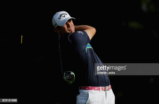 Wesley Bryan of the United States plays his shot from the fifth tee during the first round of the 2017 PGA Championship at Quail Hollow Club on...