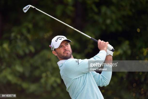 Wesley Bryan of the United States plays his shot from the fourth tee during round one of the Dell Technologies Championship at TPC Boston on...