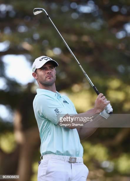 Wesley Bryan of the United States plays his shot from the fourth tee during round one of the Sony Open In Hawaii at Waialae Country Club on January...