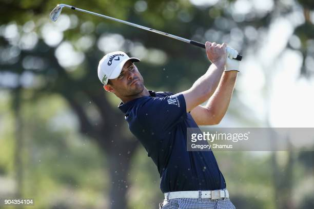 Wesley Bryan of the United States plays his shot from the fourth tee during round two of the Sony Open In Hawaii at Waialae Country Club on January...