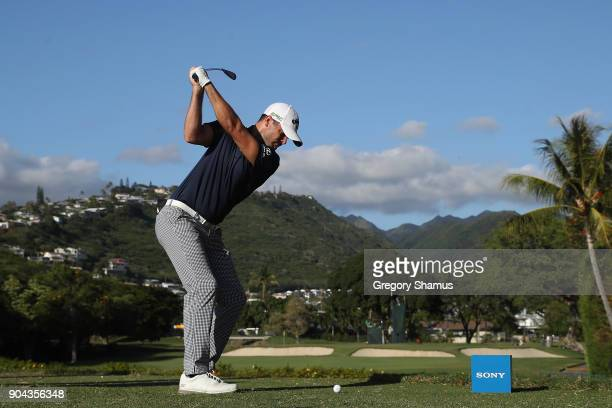 Wesley Bryan of the United States plays his shot from the seventh tee during round two of the Sony Open In Hawaii at Waialae Country Club on January...