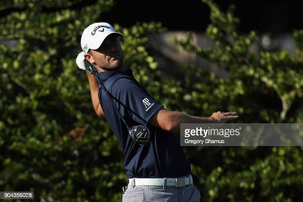 Wesley Bryan of the United States plays his shot from the sixth tee during round two of the Sony Open In Hawaii at Waialae Country Club on January 12...