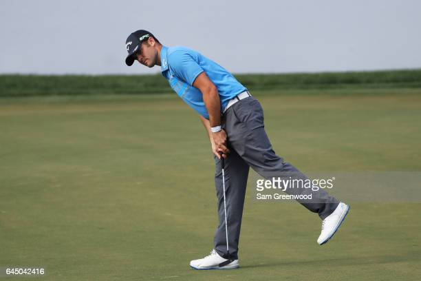 Wesley Bryan of the United States reacts on the ninth green during the second round of The Honda Classic at PGA National Resort and Spa on February...