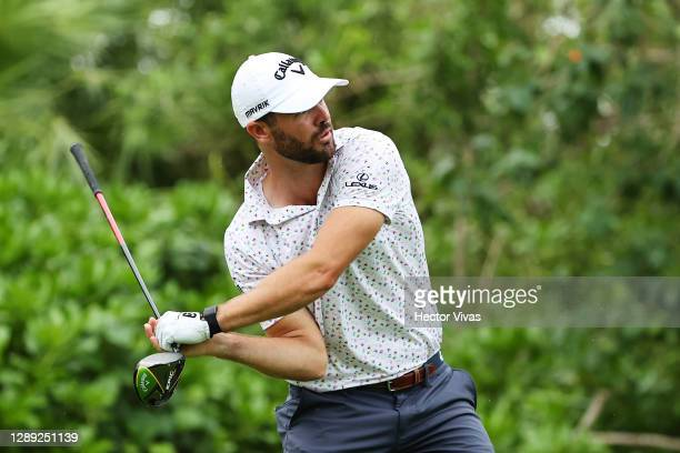 Wesley Bryan of the United States reacts on the seventh tee during the first round of the Mayakoba Golf Classic at El Camaleón Golf Club on December...