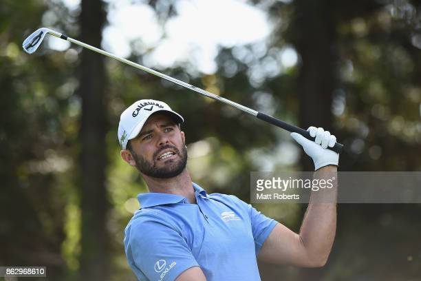 Wesley Bryan of the United States watches his tee shot on the 7th hole during the first round of the CJ Cup at Nine Bridges on October 19 2017 in...