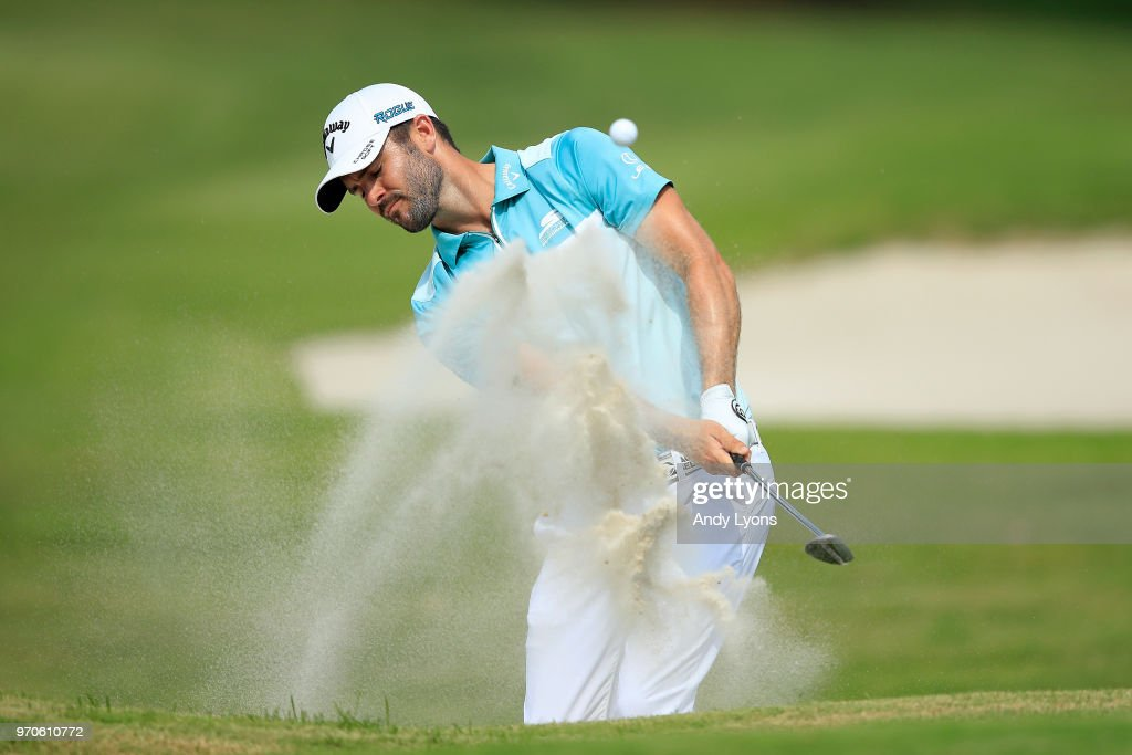 Wesley Bryan plays a shot from a bunker on the 16th hole during the third round of the FedEx St. Jude Classic at TPC Southwind on June 9, 2018 in Memphis, Tennessee.