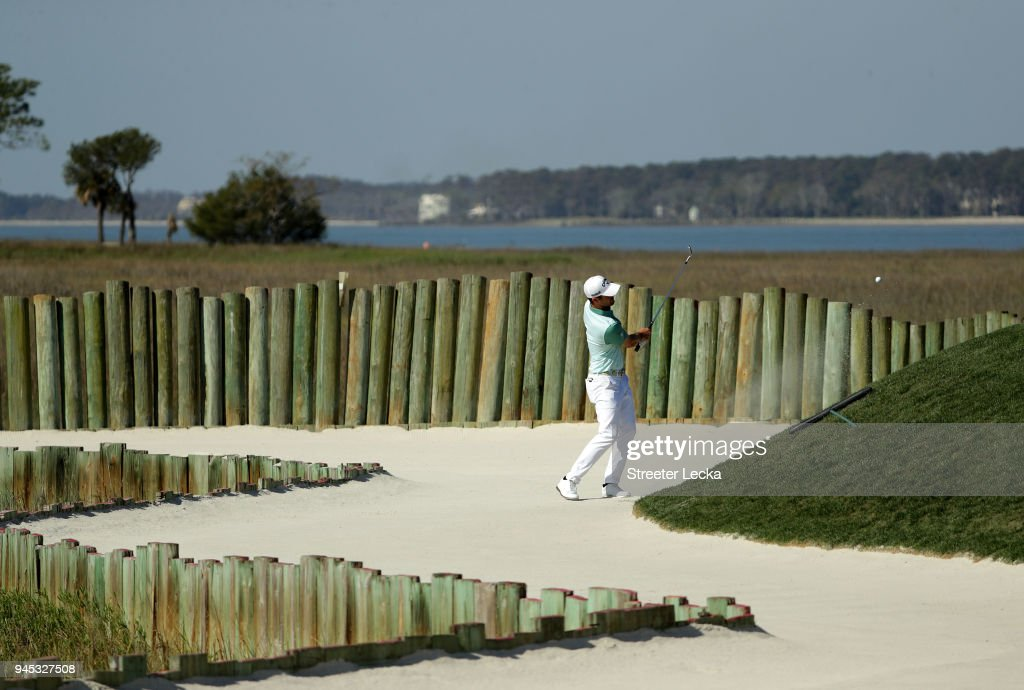 Wesley Bryan plays a shot from a greenside bunker on the 17th hole during the first round of the 2018 RBC Heritage at Harbour Town Golf Links on April 12, 2018 in Hilton Head Island, South Carolina.