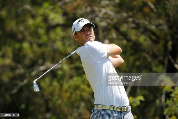 Wesley Bryan plays his shot from the fifth tee during the first round of the Valero Texas Open at TPC San Antonio ATT Oaks Course on April 19 2018 in...