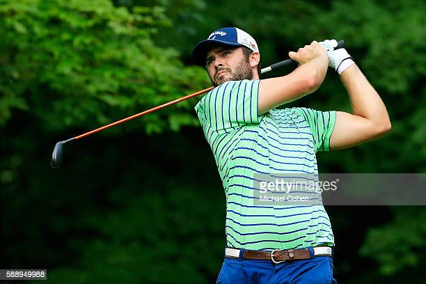 Wesley Bryan plays his shot from the sixth tee during the second round of the John Deere Classic at TPC Deere Run on August 12 2016 in Silvis Illinois