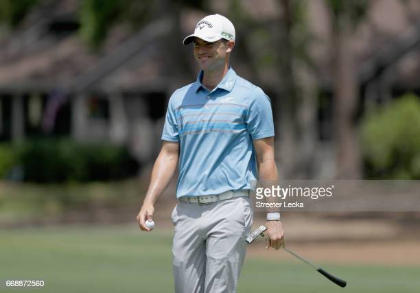 Wesley Bryan reacts after making a putt on the second hole during the third round of the 2017 RBC Heritage at Harbour Town Golf Links on April 15...